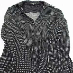 Express Design Studio Black Polka Dot Dress Shirt